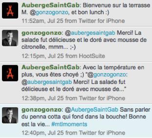 Échange convivial sur Twitter avec l'Auberge St-Gabriel!