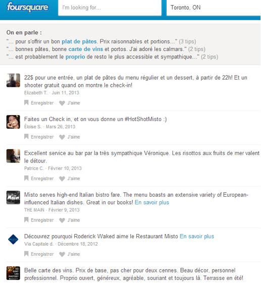 Gestion dynamique de compte Foursquare par le resto Misto
