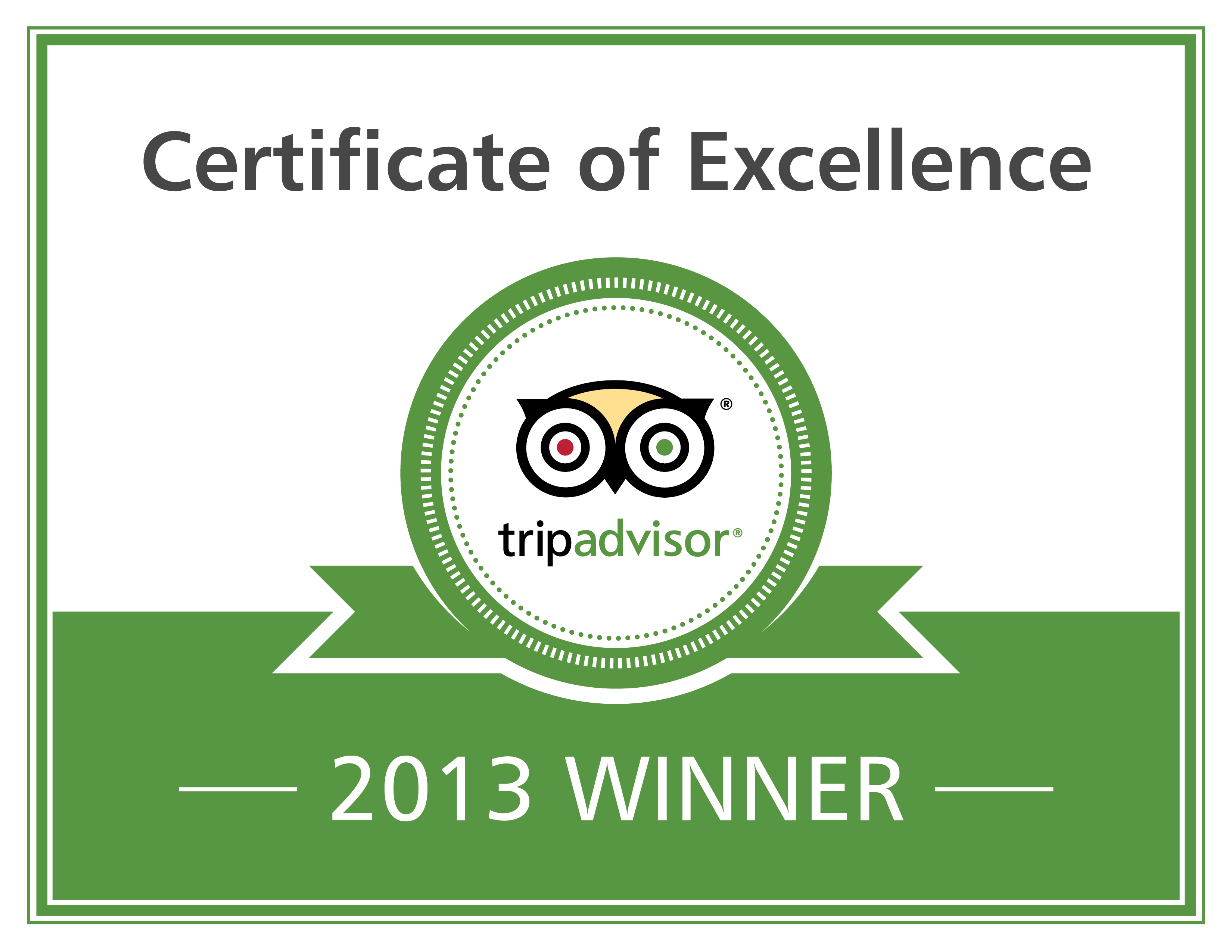 Excellence Badge from TripAdvisor
