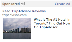TripAdvisor retargeted ad on Facebook