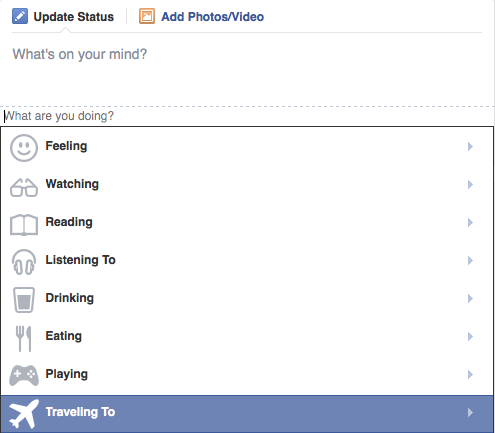"""The new """"traveling to"""" feature on Facebook"""