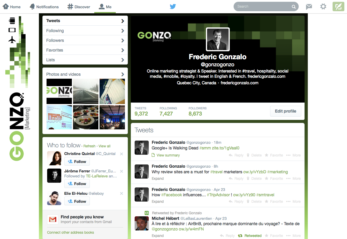 Old profile page on Twitter - Frederic Gonzalo
