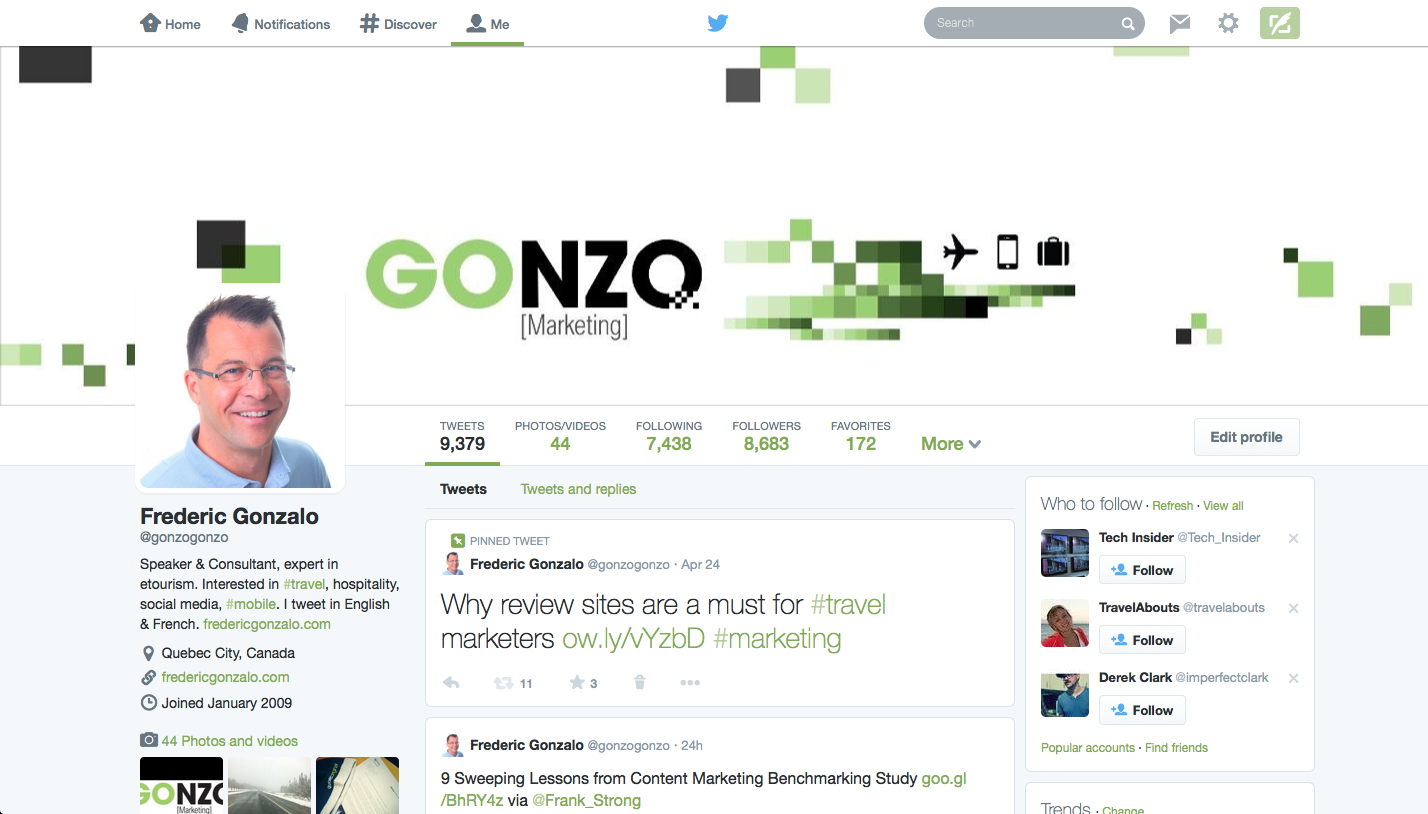 New Twitter profile - Frederic Gonzalo