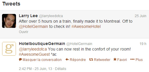 Twitter conversation between customer and Hotel Germain in Montreal