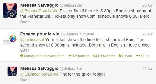 Exchange on Twitter between customer and Montreal Planetarium