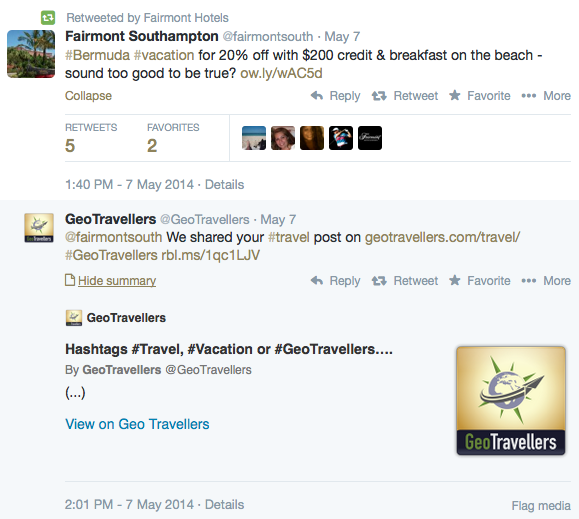Fairmont Hotels promotion on Twitter