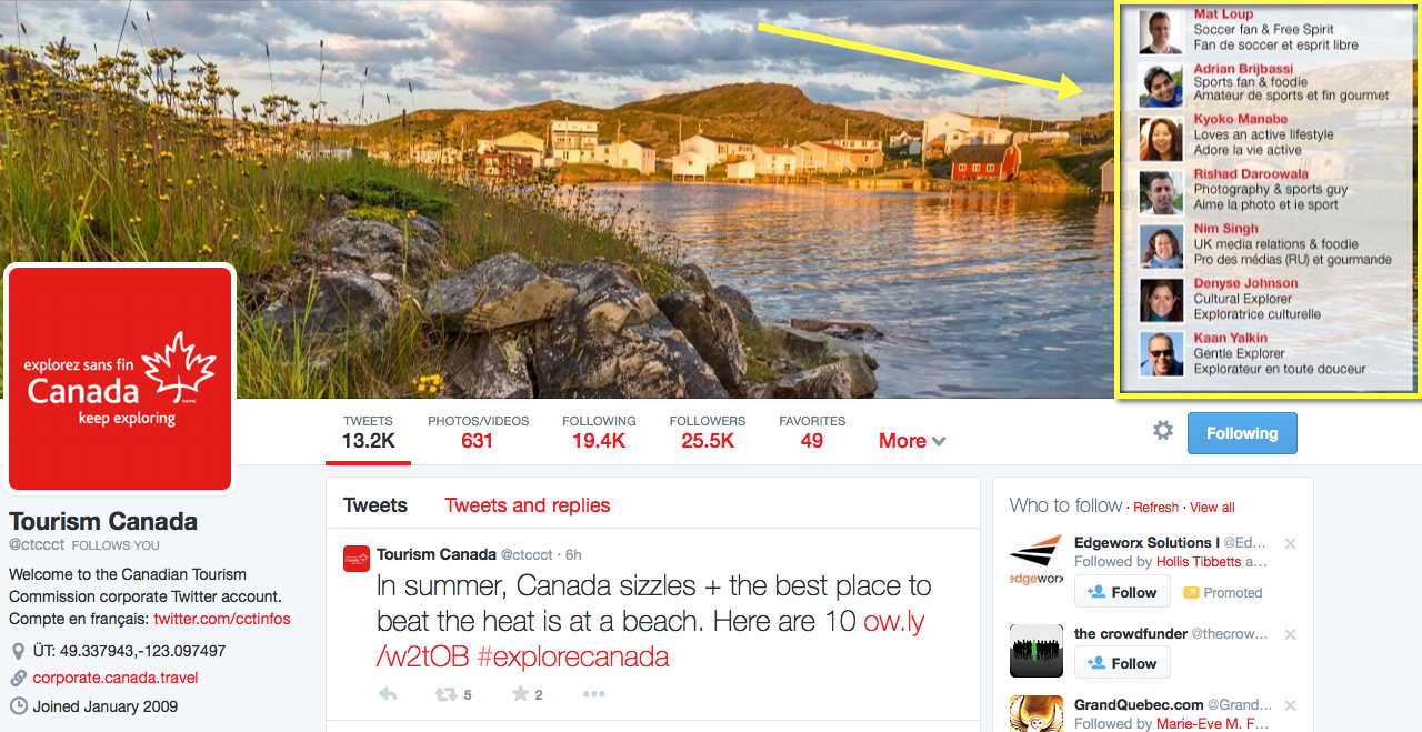 Canadian Tourism Commission on Twitter
