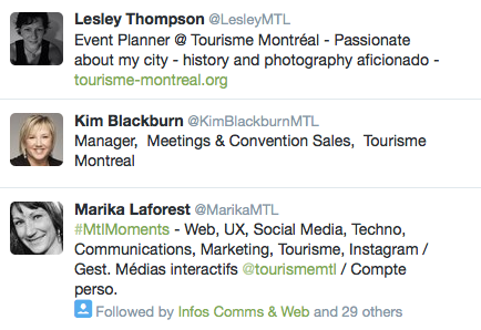 Tourisme Montreal employees on Twitter