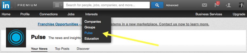 Pulse section on LinkedIn