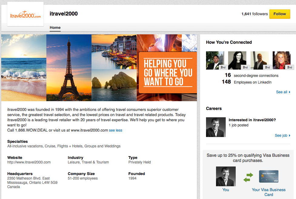 iTravel2000 page on LinkedIn