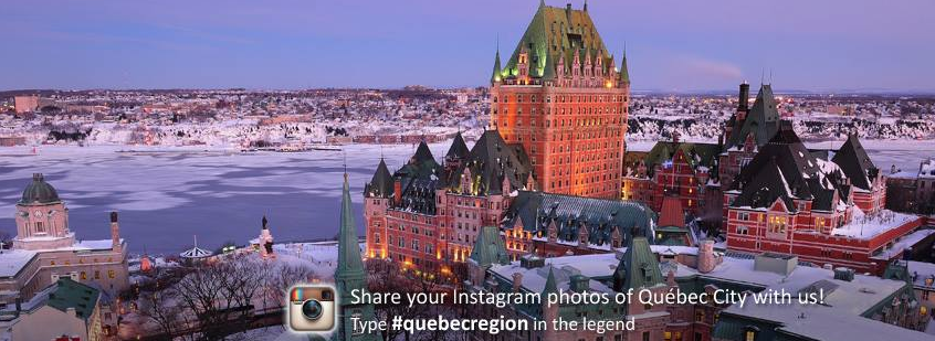 Quebec Region promoting its Instagram hashtag on Facebook