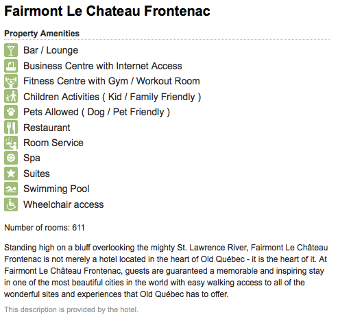 Example of hotel description on TripAdvisor.