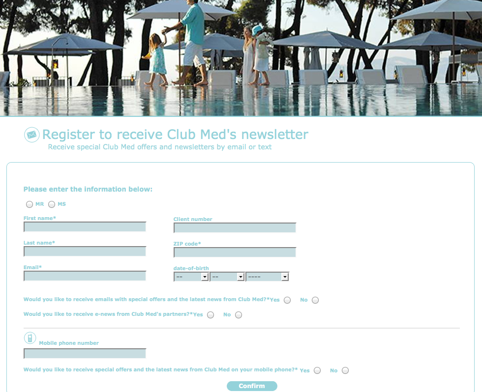 Club Med newsletter subscription