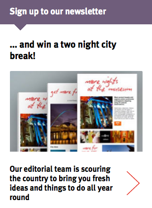 Incentive to subscribe to Visit England's newsletter