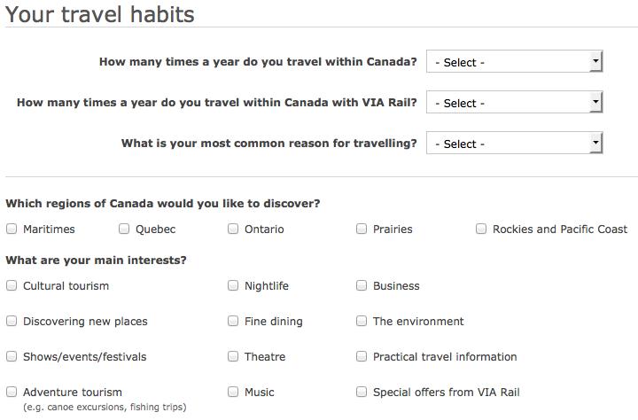 Subscription to VIA Rail Canada's e-letters