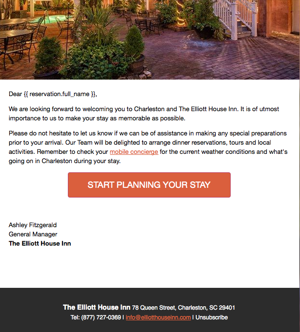 Example of automated email, linked to hotel PMS
