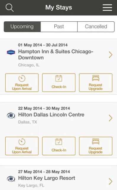 Hilton Hotels in-app offerings