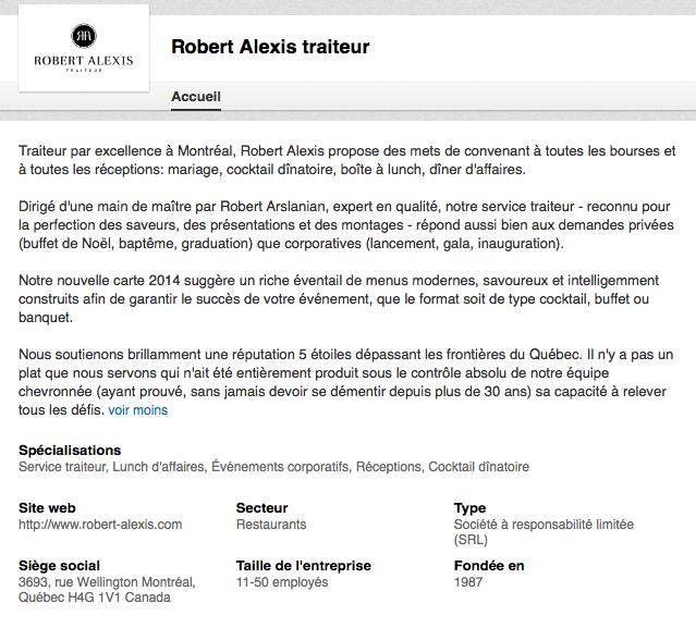 La page Linkedin de Robert Alexis Traiteur, à Montréal.