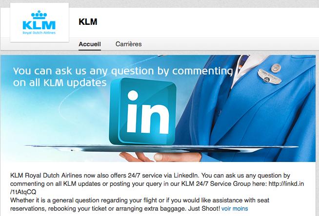 Service-client de KLM sur Linkedin