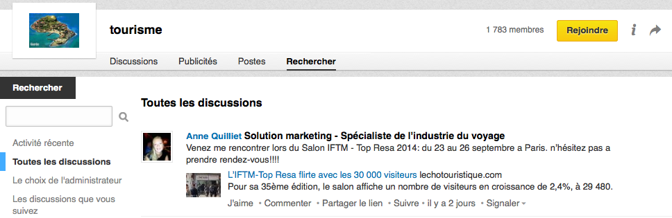 "Groupe de discussion ""Tourisme"" sur Linkedin"