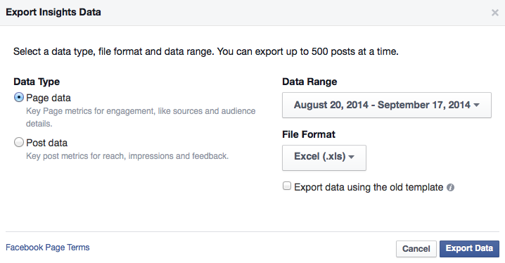 Extracting a report from a Facebook Page