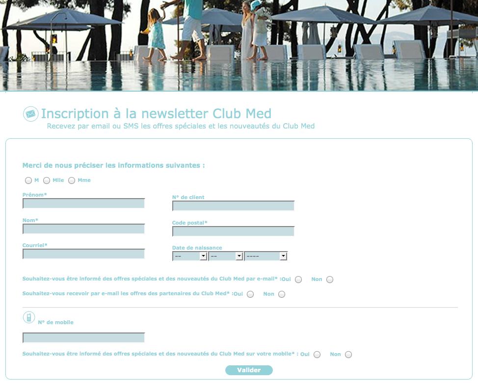 Exemple de opt-in dans les communications électroniques du Club Med
