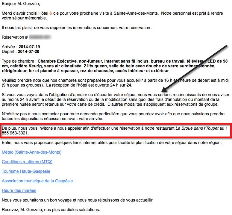 Bon exemple de courriel automatisé, pré-arrivée