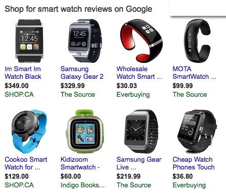 Various smart watches available for purchase on the web