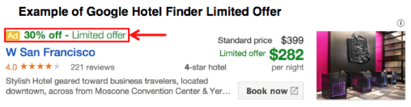 Example of Hotel Finder Limited Offer