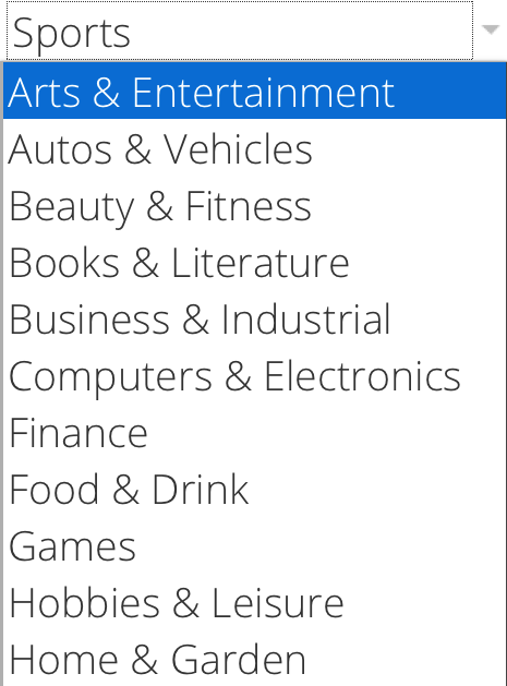 Snapshot of industries analyzed in this Think with Google report