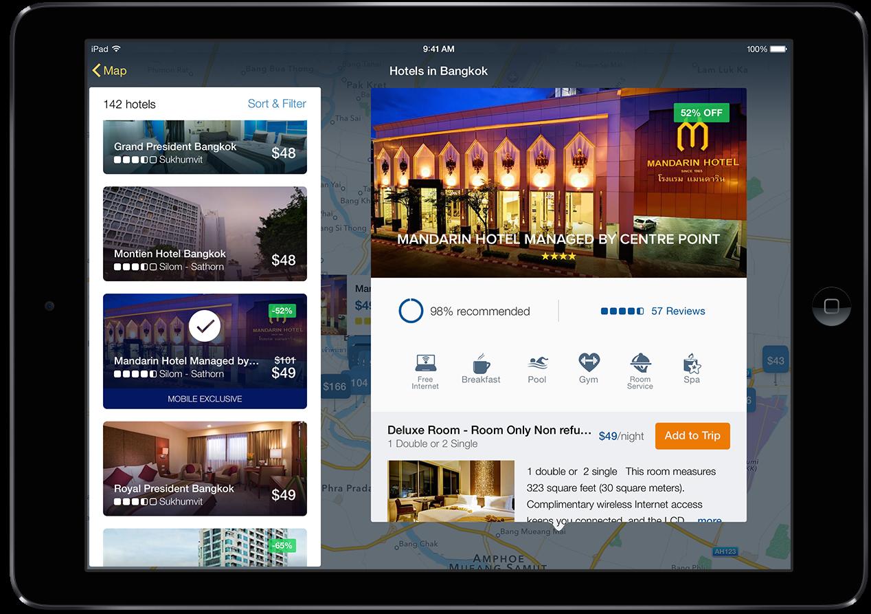 Application Expedia pour iPad
