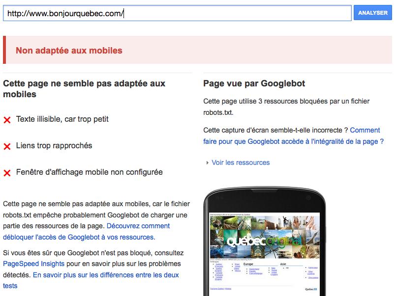 Le site BonjourQuebec.com n'est pas encore mobile-friendly