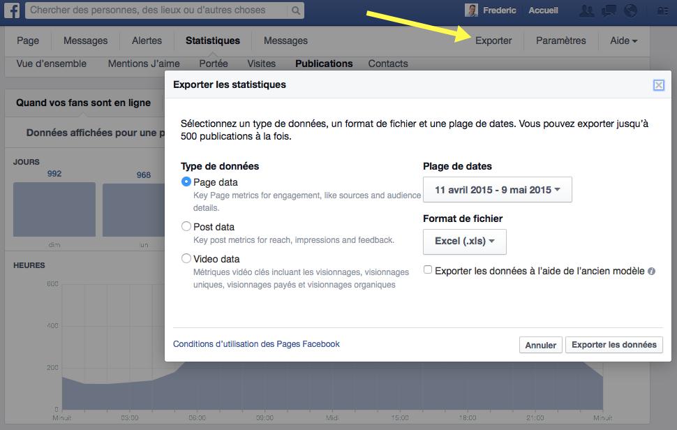 Exporter les données d'une Page sur Facebook