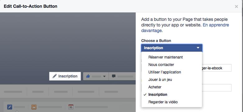 Insérer un call-to-action sur votre Page Facebook