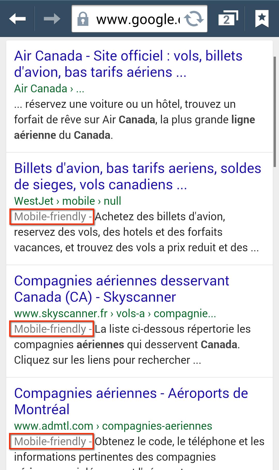 Le site web d'Air Canada, pas encore mobile-friendly