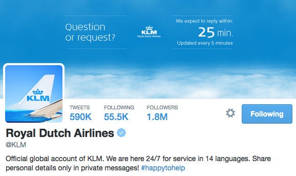 KLM account on Twitter