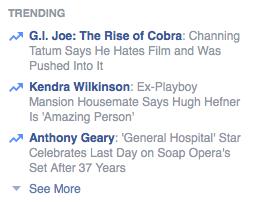 """Trending"" feature on Facebook"