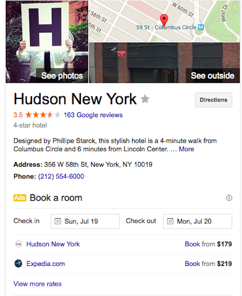 Hudson Hotel New York in Google Search