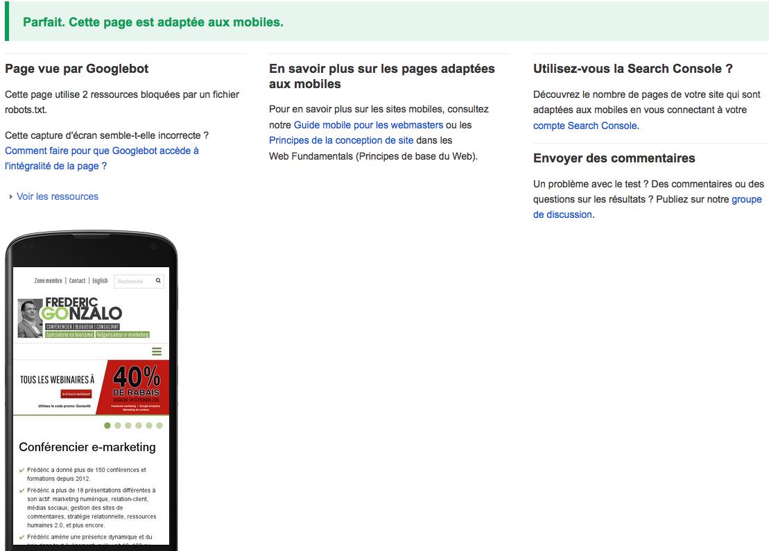 Test d'optimisation mobile de Google