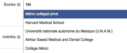 Recherche d'institutions par mot-clé dans Facebook