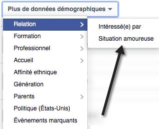 """Trouver """"Situation amoureuse"""" dans les options de ciblage Facebook"""