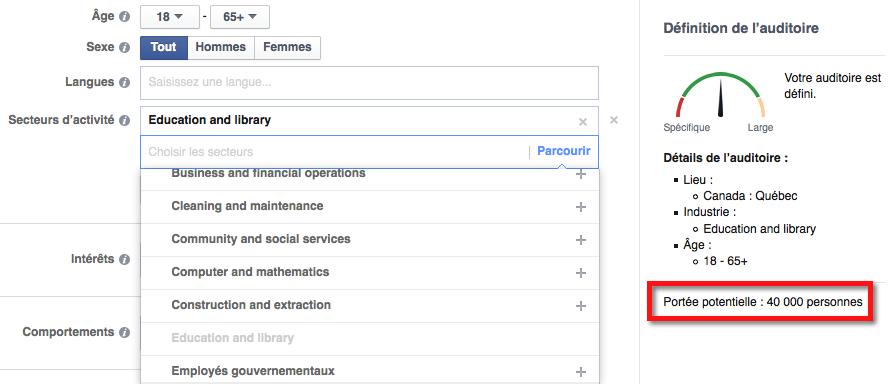 Filtre par secteur d'activité sur Facebook