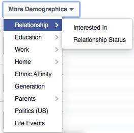 Facebook targeting per relationship status