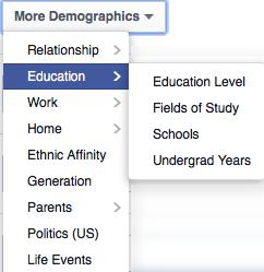 Facebook targeting per education profile