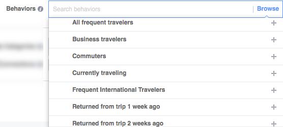 Facebook targeting per travel behaviors