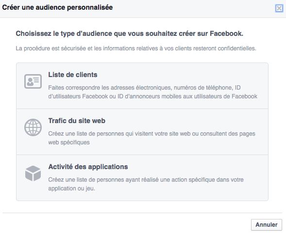 Créer un auditoire personnalisé sur Facebook