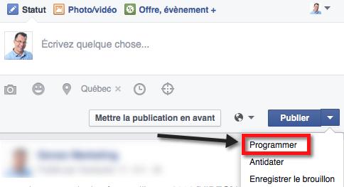 Programmer une publication dans Facebook
