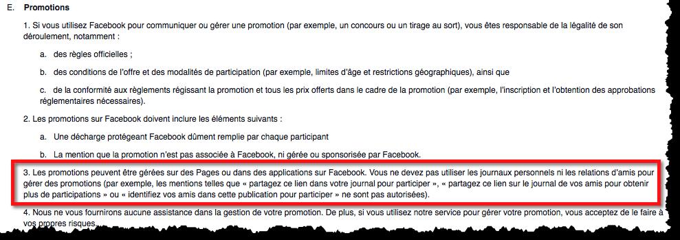 Termes et conditions de promos et concours sur Facebook