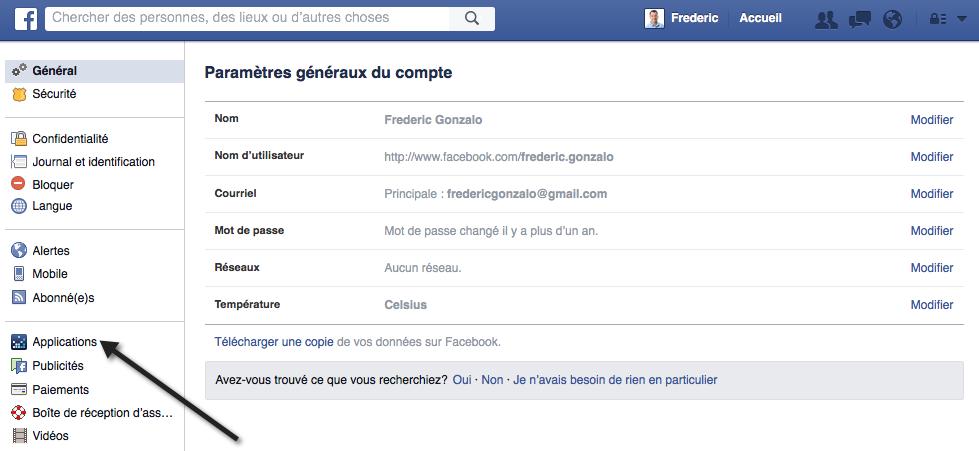 Gérer les accès aux applications dans Facebook