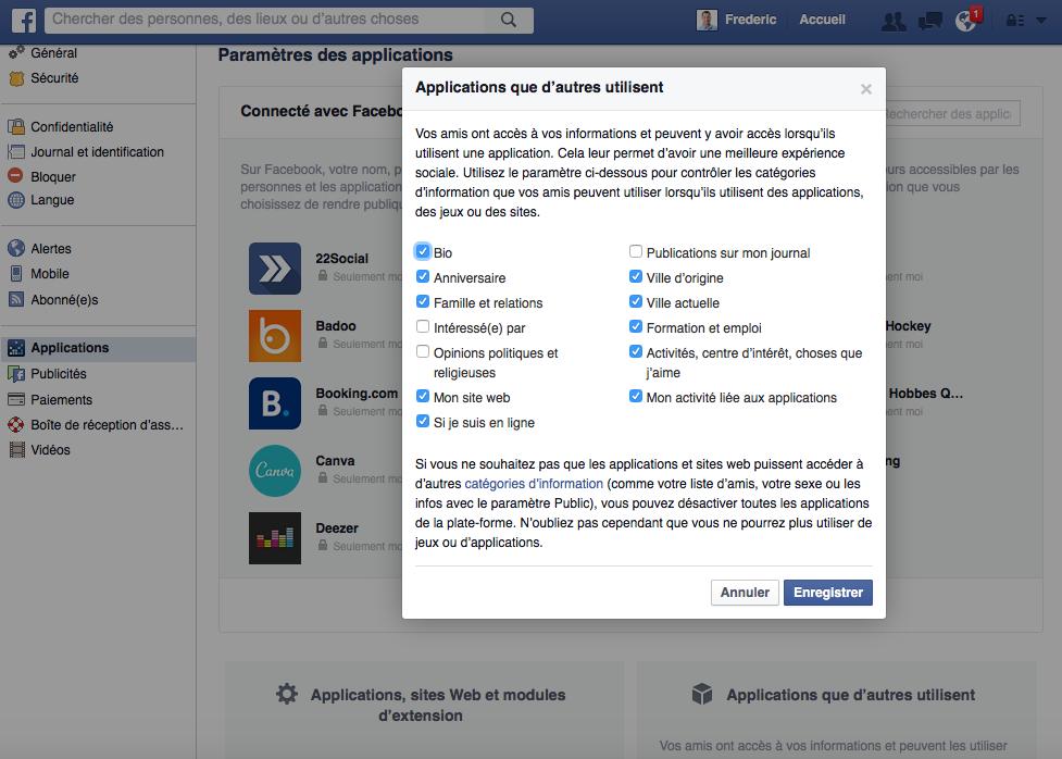 Accès à l'information partagée via les applications dans Facebook
